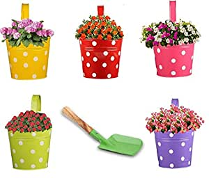 Trajectory Exotic Multicolored Railing Planters with a Gardening Trowel (Set of 5)(6 Months Warranty)