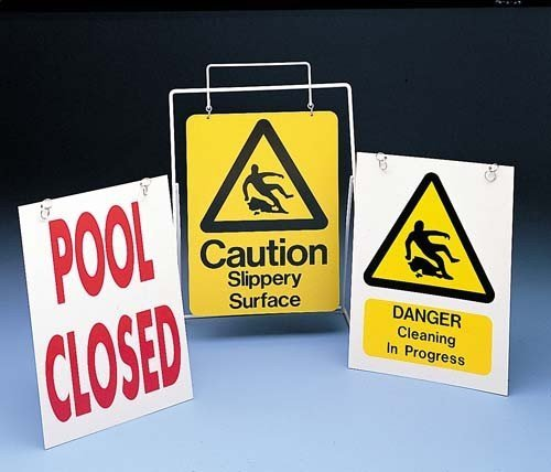 New Os Swimming Pool Safety Sign Stand Swimmers Guideline Metal Signboard Holder by Only Swim