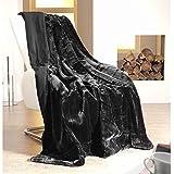 Jemidi - Plaid in lana effetto pelliccia, dimensioni: 150 x 200 cm, Poliestere, nero, 40 x 40 cm