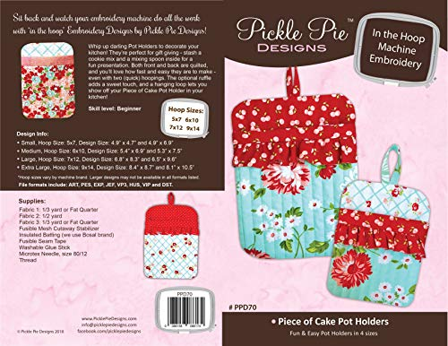 Pickle Pie Designs PPD-70 Kuchenhalter in der Hoop-Maschine, Stickerei-Design, CD-Muster -