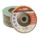 Woltersberger INOX Fächerscheiben | Ø 125mm | Korn 40 | 10 Stück | Blau für Edelstahl, Metall/Stahl, Holz | Zirkonkoround Schleifmop Lamellenscheiben