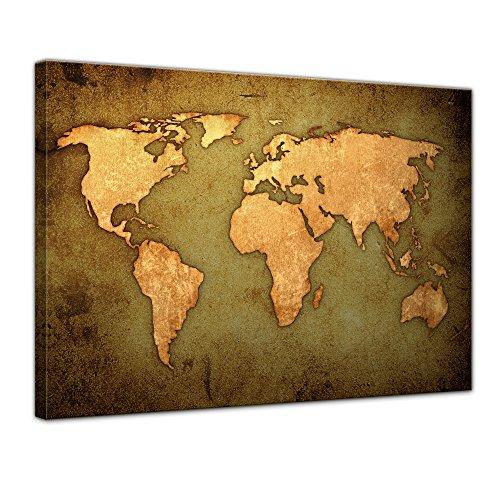 Bilderdepot24 Kunstdruck - Weltkarte - Bild auf Leinwand - 60 x 50 cm - Leinwandbilder - Bilder als Leinwanddruck - Wandbild Urban & Graphic - Illustration - Landkarte - braun (Atlas Katalanische)