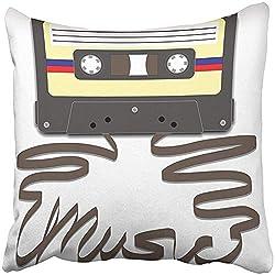 QDAS Kissenbezug Mixtape Casette Tape mit ausziehbarem Band für Musikkassette, Funk Player Radio Clipart Kissenbezug für Zuhause