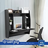 UEnjoy Floating Wall Mounted Office Computer Desk Home Office Table w/Storage,107cmx 101cmx 50cm,Black