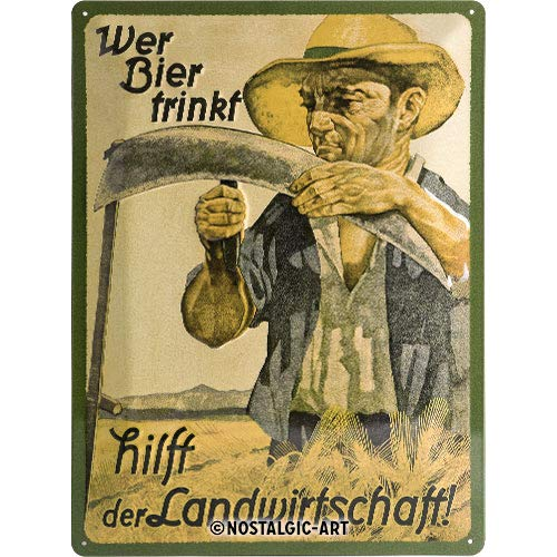 Nostalgic-Art 20393 Open Bar - Wer Bier trinkt hilft der Landwirtschaft, Blechschild 30x40 cm -