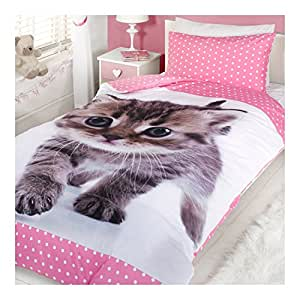 Cute Girls Pink Kitten Bedding Single Duvet Bed Quilt