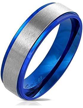 Tapsi´s Coolbodyart® Damenring Herrenring aus Edelstahl in blau mit gebürstetem Edelstahl-Zentrum verschiedene...