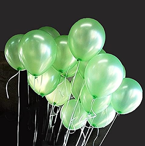 AIERNUO 100 pcs Leaf Green Balloons 10 inch Thick Latex Balloons for Birthday Party Christmas Carnival Fiesta Decoration