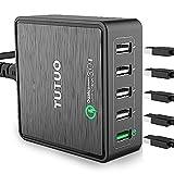 TUTUO Quick Charge 3.0 Caricabatterie 40W 5 Porte Caricatore Stazione di Ricarica per iPhone 8 Plus, iPad Pro, Galaxy S8 Plus, Huawei P9 P10, Nexus 6P, Oneplus5, Lumia 950, HTC U11, LG G6 (Nero)