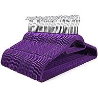 Homfa 40er Kleiderbügel 45cm Jackenbügel mit Samt Oberfläche Anzugbügel Hemdenbügel Samtkleiderbügel rutschfest platzsparend Haken 360° drehbar lila