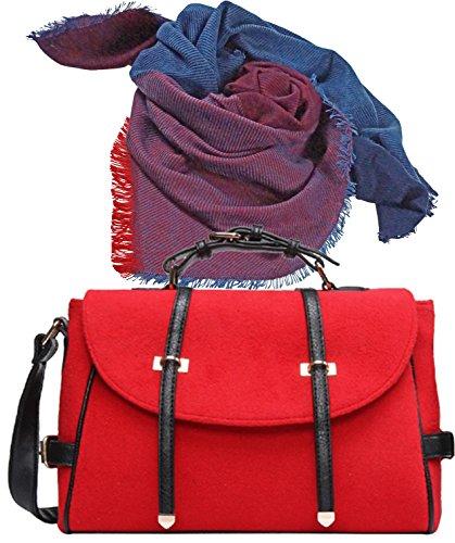 Preisvergleich Produktbild Extravagante City Damenhandtasche rot, Umhängetasche aus Filz im Set, großer weicher Winter-Schal Viskose 140 x 140 cm