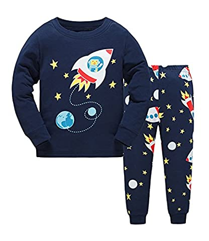 Kids Rocket Pajamas Sets Ensembles de vêtements pour enfants Boys Cotton Toddler Pjs Sleepwear 2-3Y