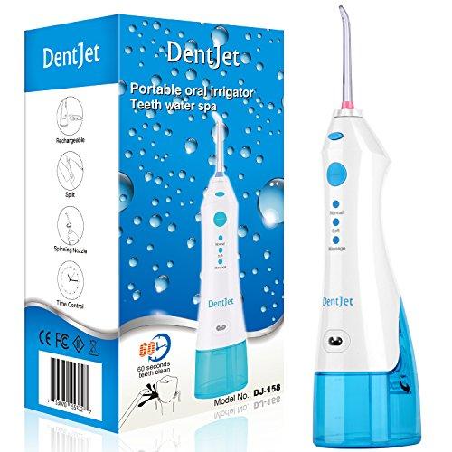 Handliche Munddusche, [DentJet] Wasserzahnseidenhalter für Reiseausflüge und Geschäftsreisen, IP67 wasserdichter Zahn Wasser Spa, Einfach USB wiederaufladbar Elektrische Wasser Pick Zahnpflege (DJ-158)