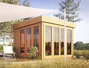 flachdach gartenhaus sonneninsel 3 50 x 3 70 meter aus 28 mm blockbohlen baumarkt. Black Bedroom Furniture Sets. Home Design Ideas
