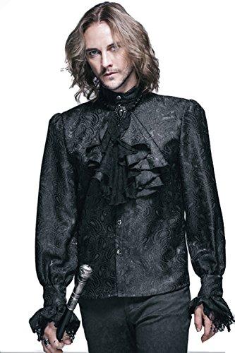 Devil Fashihon Gothic Herren Victorian Retro Rüsche Hemd Steampunk Pastorenhemd Barock Männer Tops Stehkragen Männerhemd (L, Schwarz)