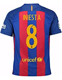 2016-17 Barcelona Home Football Soccer T-Shirt Camiseta (Andres Iniesta 8)