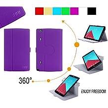LG G Pad 8.3 Funda, Funda LG G Pad 8.3, Fyy magn¨¦tico m¨¢s delgado elegante de 360 grados que giran la caja de cuero Multi-¨¢ngulo del soporte de la funda para LG G Pad X8.3 VK815(4G LTE VERISON WIRELESS) color p¨²rpura (Con auto reposo/despertar)