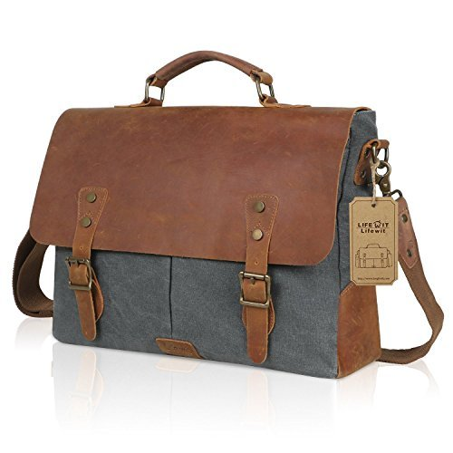 "- 51i2XIsvqBL - Lifewit 14-15.6 Inch Leather Satchel Messenger Laptop Shoulder Bag Canvas Briefcase (15.6"" Grey)"