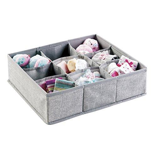 mDesign Baby Organizer - kleine Aufbewahrungsbox mit 9 Fächern -perfekt für einen gut sortierten Wickeltisch - auch zur Spielzeug Aufbewahrung geeignet - atmungsaktives Polypropylen - grau