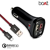 #1: boAt Dual Port Rapid Car Charger (Qualcomm Certified) with Quick Charge 3.0 + Free Micro USB Cable - (Black)