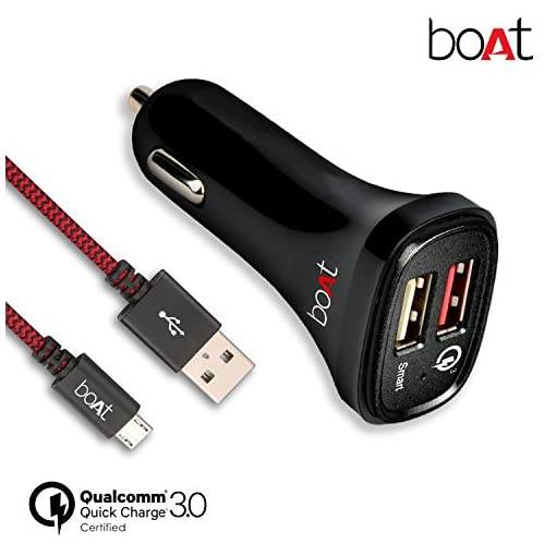 boat dual port rapid car charger (qualcomm certified) with quick charge 3.0 + free micro usb cable - (black) - 51i2XlvilcL - boAt Dual Port Rapid Car Charger (Qualcomm Certified) with Quick Charge 3.0 + Free Micro USB Cable – (Black)