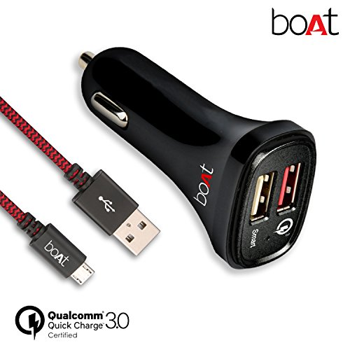 boAt Dual Port Rapid Car Charger (Qualcomm Certified) with Quick Charge 3.0 + Free Micro USB Cable – (Black)