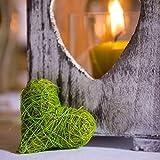 Weddix Sisalherzen als Streudeko - Tischdeko Hochzeit, romantische Deko Herzen für Valentinstag, Liebeserklärung und Heiratsantrag, grün - 3