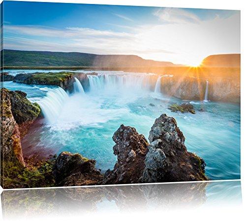 Idyllische Wasserfälle bei Sonnenuntergang, Format: 120x80 auf Leinwand, XXL riesige Bilder fertig gerahmt mit Keilrahmen, Kunstdruck auf Wandbild mit Rahmen, günstiger als Gemälde oder Ölbild, kein Poster oder Plakat