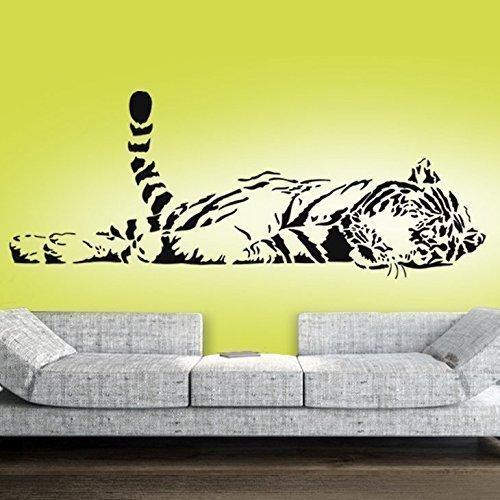 Liegende Wohnzimmer (Grandora Wandtattoo Tiger liegend XXL I schwarz (BxH) 147 x 58 cm I Wohnzimmer Schlafzimmer Kinderzimmer Sticker Aufkleber Wandaufkleber Wandsticker W5103)
