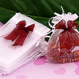 50pc 12x10cm organza blanc cadeau de mariage sac drawtring Pouche (acheter un en obtenir deux cadeau gratuit)