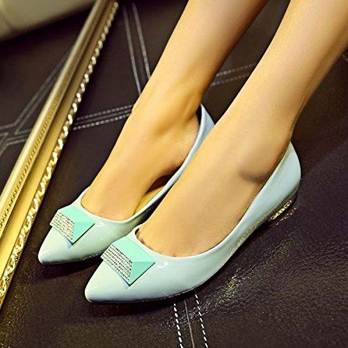 ZYUSHIZ Frau Klicken Sie auf die Schuhe flache Anschluss zu niedrig mit lackiertem Leder Low Profile synthetischer Diamant Sandalen Hausschuhe 38EU