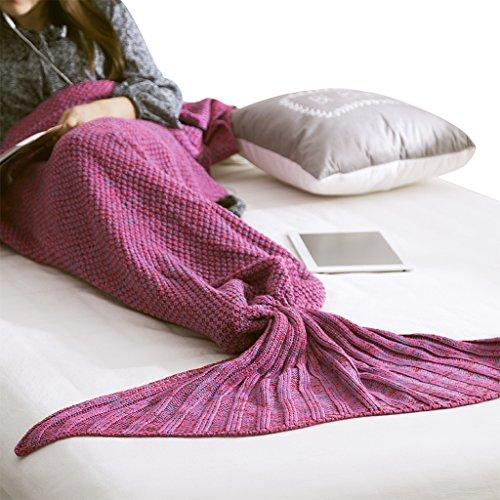 Coperta Crochet sirena coda da sirena per adulti bambini ragazzi divano letto soggiorno camera da letto da campeggio morbida e calda per tutte le stagioni Seatail Sacco a pelo sacco a pelo Copriletto Purple Mandala