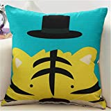 MF Colorful Lovely Cartoon Animal Printed Cushion Cover Linen Car Sofa Pillow Case Kids Room Decorative 45x45cm (Tiger)