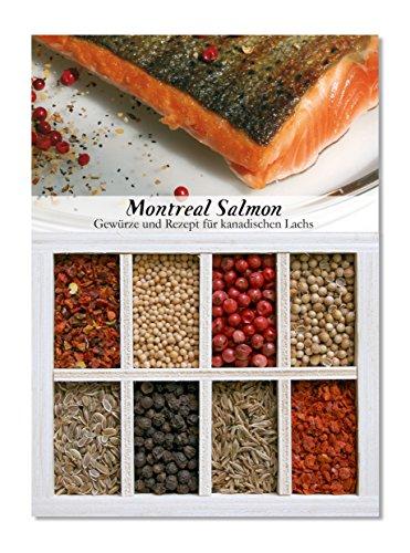 Montreal Salmon - 8 Gewürze Set für kanadischen Lachs (57g) - in einem schönen Holzkästchen - mit Rezept und Einkaufsliste - Geschenkidee für Feinschmecker von Feuer & Glas (Platte Kanadische)