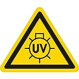 Warnzeichen - Warnung UV-Strahlen - Seitenlänge 25 mm - 15 Warnschilder aus Vinyl Folie, gelb, permanent haftend