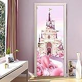 Doorlv Stickers Muraux Dessin Animé Rose Château 3D Papier Peint Pour Chambre D'Enfants Filles Princesse Chambre Porte Autocollant Pvc Autocollant Étanche Mur Mural