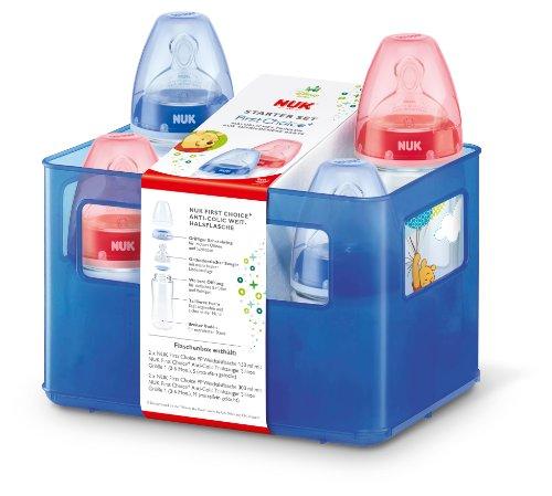 NUK Disney Winnie First Choice+ Starter Set mit 4 Anti-Colic Weithalsflaschen (2x 150ml und 2x 300ml) mit Silikonsauger und Flaschenbox