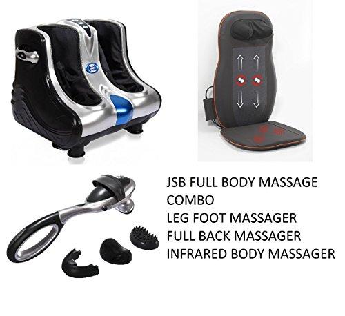 JSB HF05 Leg Foot Massager Machine for Calf Pain Relief + JSB HF23 Full Back and Neck Massager + JSB HF49 Infrared Body Massager