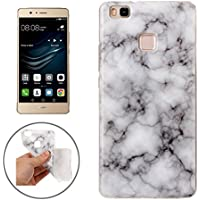 Huawei P9 Lite Marmor-Hülle weiches weiß [ TPU Case Marmormuster Optik ] Smartphone Schutzhülle Cover Marble Muster Marmor Design | Movoja® | weich-weiß-Marmor