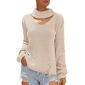 Pullover Damen Lang Hals Winter Warm Solide Gestrickte Aushöhlen Beiläufige Lose Sweater
