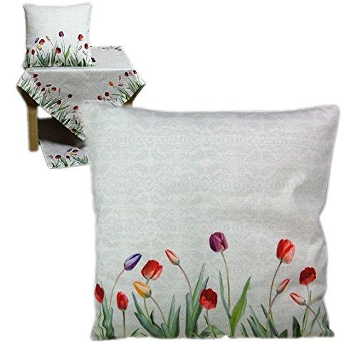 Hossner Kissenhülle 50x50 cm Tulpen TULIP modern Frühling Sommer Kissenbezug Cushion Case (Kissenhülle 50 x 50 cm)