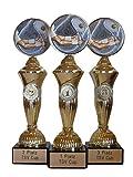 RaRu Tennis-Pokale (3er-Serie) mit Wunschgravur und 3 Anstecknadeln (Sticker)