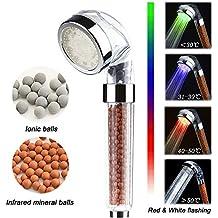 Alcachofa de Ducha LED,BeautyPO Alta Presion Mano la Cabezl de Ducha Temperatura Controlada 3 Cambio de color, Iónico Cabezal de Ducha 30% Ahorro de Agua para Baños