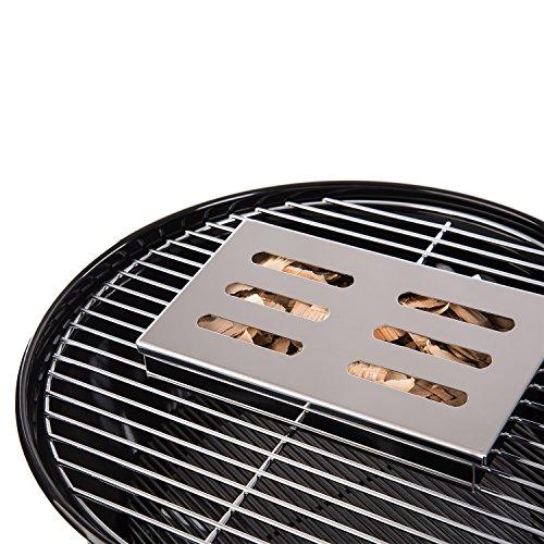 51i2aS%2BHODL - Blumtal Smoker Räucherbox aus rostfreiem Edelstahl - Gas-Grillzubehör oder Holzkohlegrill, 20x13x3,5cm, Silber