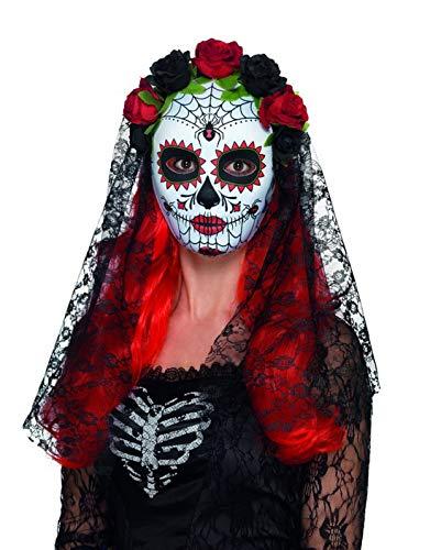 Halloweenia - Damen Day of The Dead Senorita Maske mit Rosen und Schleier, Kostüm Accessoires Zubehör, perfekt für Halloween Karneval und Fasching, Mehrfarbig