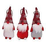 Gaocheng 3 Piezas Hechas a Mano Sueco Tomte Navidad GNOME, escandinavo Santa GNOME Adornos de Navidad para el hogar Vacaciones Navidad Colgantes Decoraciones