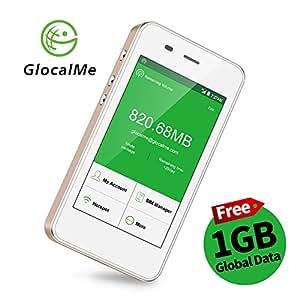 Glocalme G3 Routeur WiFi Mobile Hotspot 4G Portable, Données Globales 1 Go, Dual Nano SIM, Batterie 5350mAh Fonction Powerbank, Pocket WiFi de Voyage pour Zone Blanche ADSL(Or)