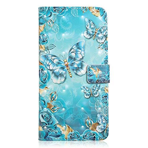 Coopay für Samsung Galaxy S9 (5,8 Zoll) Hüllen,Glänzend 3D PU Leder Material Schutzhülle,Kartenfächer Standfunktion Brieftasche,Schlank Ledertasche Tasche Lederhülle,Blau Schmetterling + Schlüsselband 5.8 Handys
