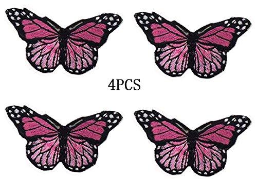 4 Stück Stickerei Aufbügeln Applikationen Blau Schmetterling Motive Handwerk Nähen Stickerei...