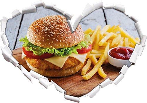 Chickenburger mit Pommes Herzform im 3D-Look , Wand- oder Türaufkleber Format: 62x43.5cm, Wandsticker, Wandtattoo, Wanddekoration